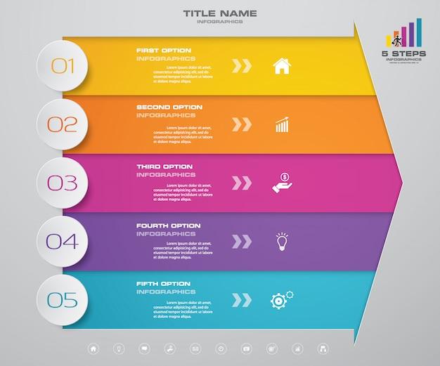 5-stopniowy strzałkowy wykres elementów infografiki do prezentacji.