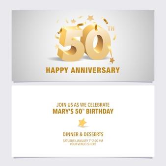 50 lat rocznica karta zaproszenie ilustracja