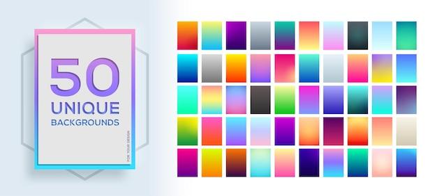 50 najlepszych unikalnych miękkich gradientów kolorów.