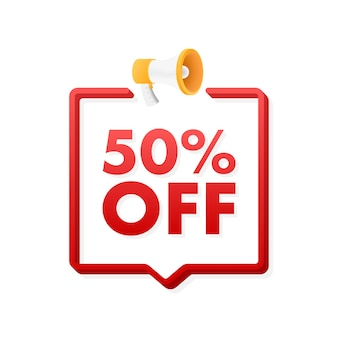 50 procent off wyprzedaż zniżka baner z megafonem zniżka z ceną oferty