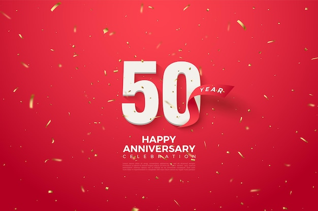 50. rocznica z numerami i czerwoną wstążką