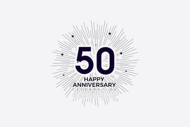 50. rocznica z pasiastym tłem przypominającym słońce