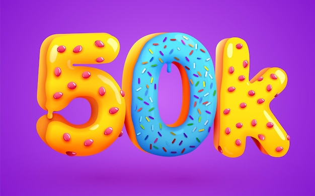 50 tys. obserwujących deser pączek znak znajomych w mediach społecznościowych obserwujący dziękuję subskrybentom