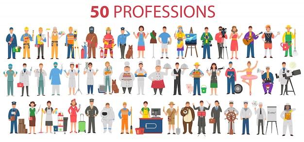 50 zawodów. duży zestaw zawodów w stylu cartoon płaski dla dzieci. międzynarodowy dzień pracowników, święto pracy