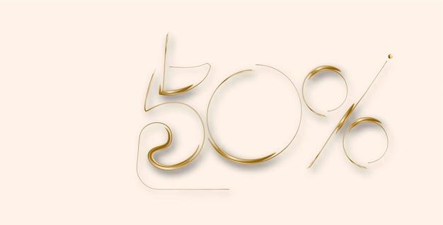 50% zniżki baner rabatu na sprzedaż złota. oferta rabatowa cenowa. ilustracja wektorowa nowoczesne naklejki.