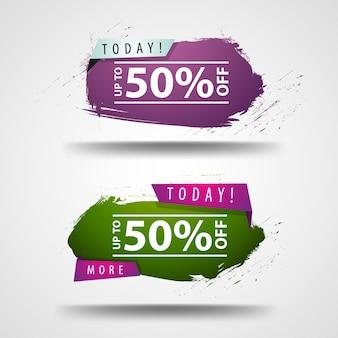 50% zniżki. dwa nowoczesne banery