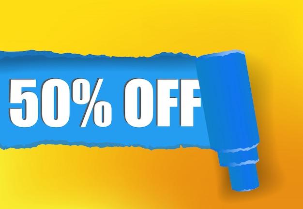 50% zniżki na baner promocyjny w kolorach żółtym i niebieskim