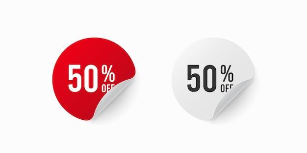 50% zniżki na naklejkę. etykieta okrągła