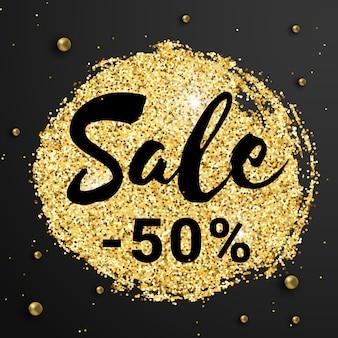50% zniżki na sprzedaż z błyszczącym brokatem i złotymi koralikami na czarnym tle.