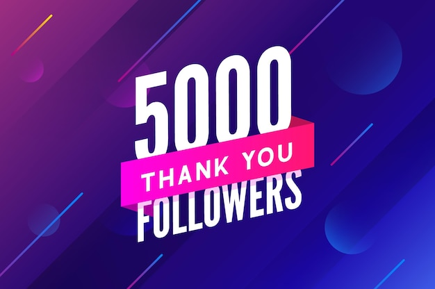 5000 obserwujących wektor powitanie karta społeczna dziękuję obserwującym