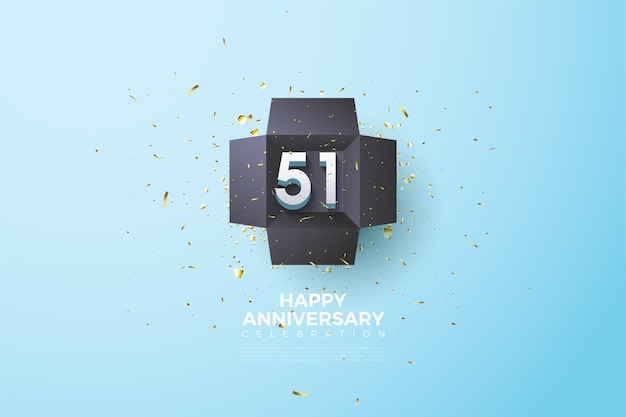 51. rocznica z prostą ilustracją liczb