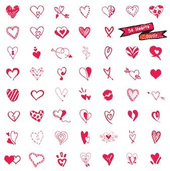 54 zestaw serca, na białym tle,