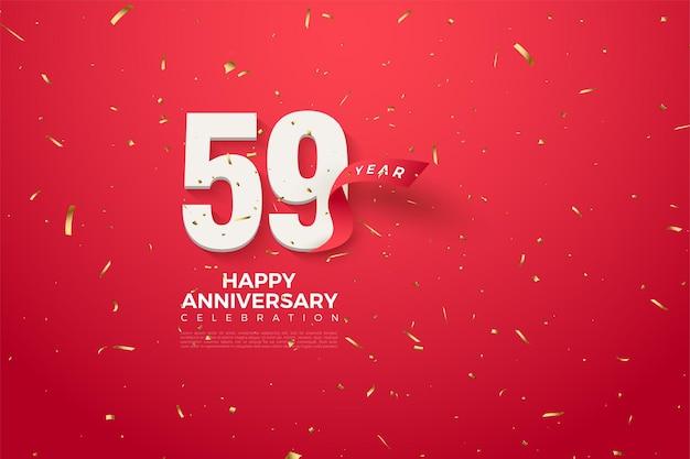59 rocznica z cyframi i czerwoną wstążką