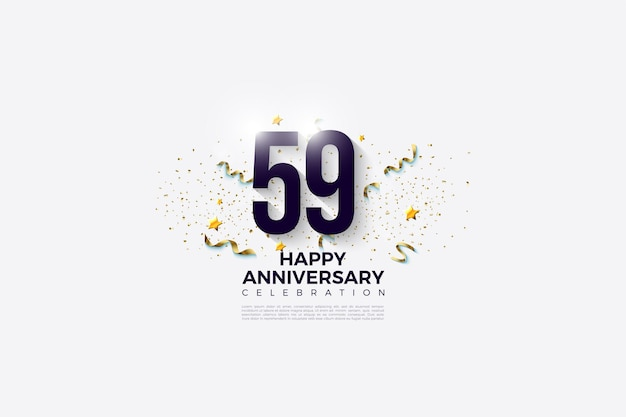 59 rocznica z czarnymi cyframi na świecącym białym tle