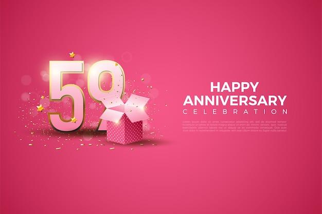 59 rocznica z liczbami i ilustracją pudełka na prezent