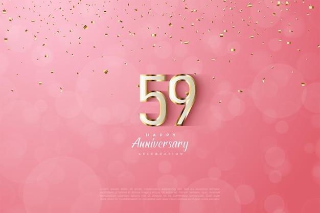 59. rocznica z luksusową złotą obwódką