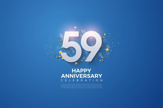 59. rocznica z wytłoczonymi numerami na niebieskim tle