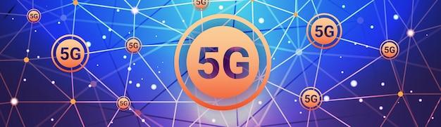5g cyfrowych systemów bezprzewodowych połączenie globalnej sieci koncepcja piąta innowacyjna generacja szybkiego internetu streszczenie technologia tło poziome banner