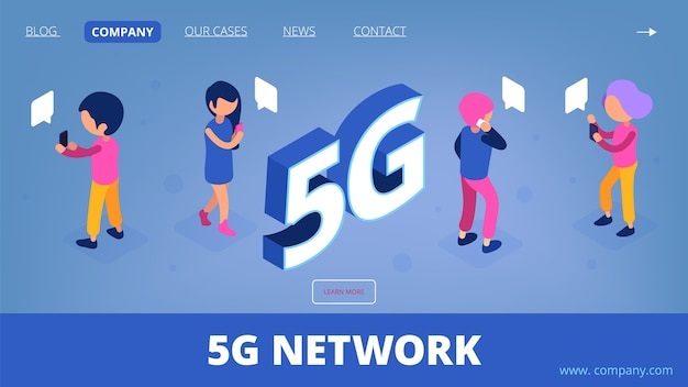 5g izometryczny. wektor strony docelowej sieci bezprzewodowej. postacie ludzi 3d ze smartfonami.