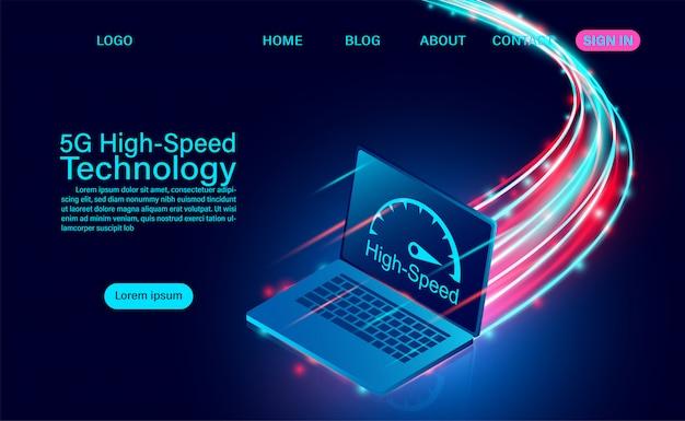 5g koncepcja szybkiej technologii. komunikacja sieciowa internet bezprzewodowy. najszybsze połączenie internetowe. ilustracja izometryczny płaska konstrukcja