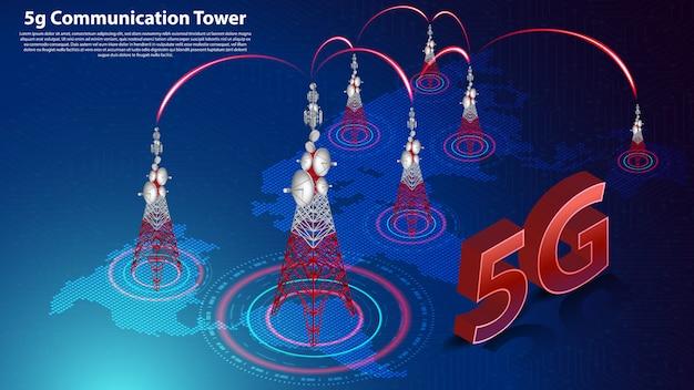 5g wieża łączności bezprzewodowy internet hispeed