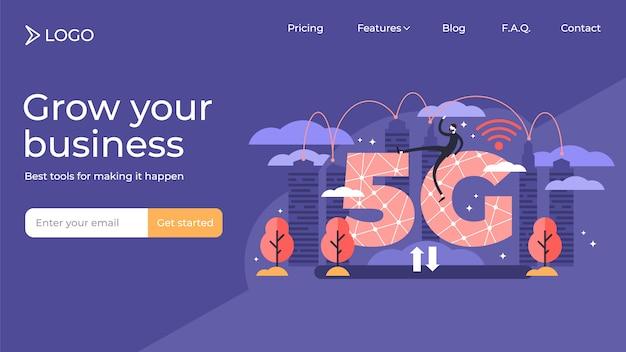 5g wifi płaskich malutkich osób strony docelowej szablonu wektorowy ilustracyjny projekt