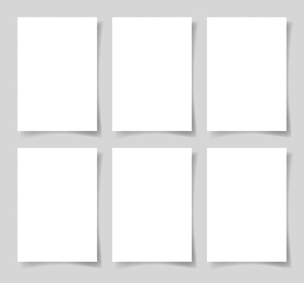 6 kawałków białego papieru formatu a4 z cieniem
