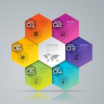 6 kroków biznesowych infographic elementów do prezentacji