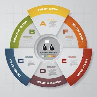 6 kroków nowoczesny infografiki elementy wykresu kołowego.