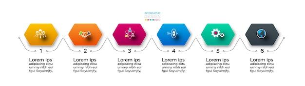 6 kroków o sześciokątnym kształcie, jasno opisanych i podzielonych na etapy. infografika.