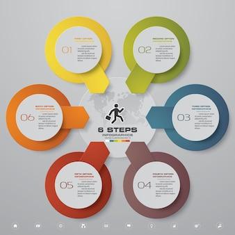 6 kroków przetwarza element infografiki do prezentacji.
