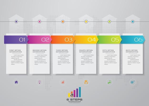 6 kroków wykresu szablonu infografiki osi czasu strzałek.