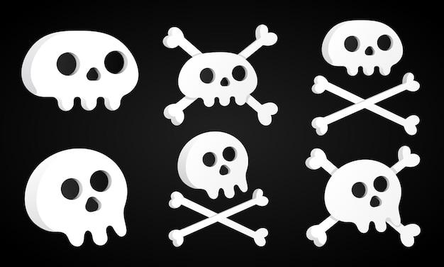 6 prostych, płaskich czaszek ze skrzyżowanymi kośćmi