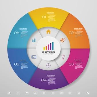 6-stopniowe elementy infografiki wykresu cyklicznego do prezentacji danych.