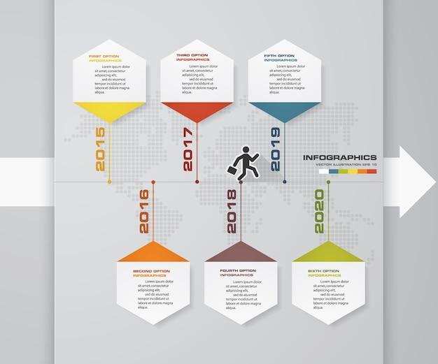 6-stopniowy infografiki osi czasu dla prezentacji.