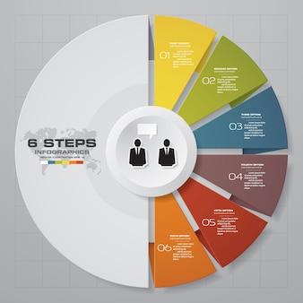 6-stopniowy wykres elementów infografiki.