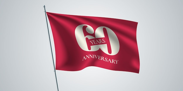 60 rocznica. szablon machający flagą na 60. rocznicę