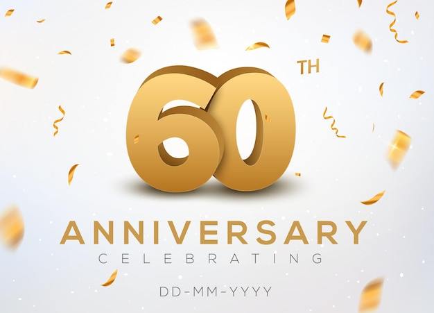 60 rocznica złote cyfry ze złotym konfetti. obchody 60-lecia