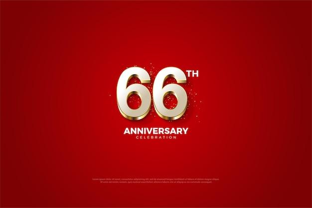 66. rocznica z luksusowymi pozłacanymi cyframi