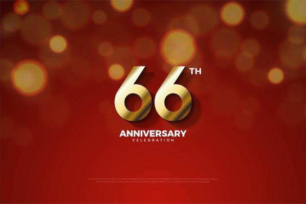 66. rocznica ze złotymi cyframi wyciętymi w cieniu