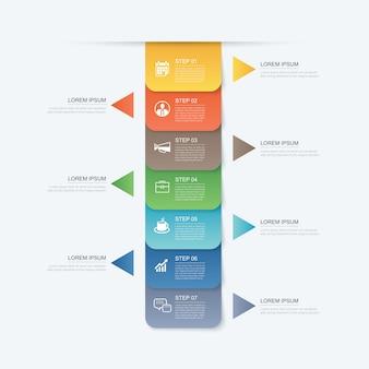 7 danych krok infografiki szablon zakładki papier na osi czasu.