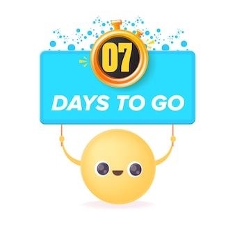 7 dni, aby przejść szablon projektu banera z uśmiechniętą buźką trzymającą odliczanie