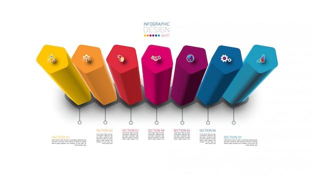 7 kroków kolorowy szablon infografiki pięciokąt.