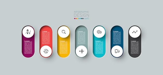 7 Kroków Kolorowy Szablon Infografiki. Premium Wektorów