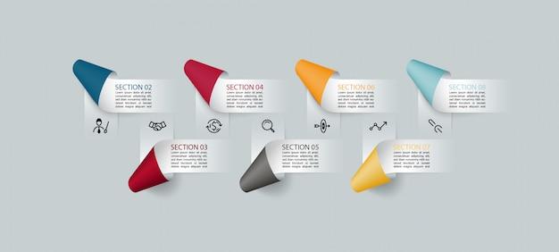 7 kroków szablon projektu infografika.