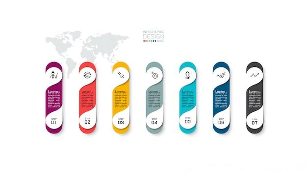 7 Kroków Szablon Projektu Infografika. Premium Wektorów