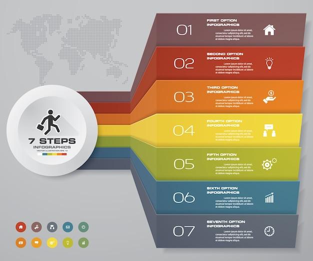 7 kroków wykresu elementów infografiki do prezentacji.