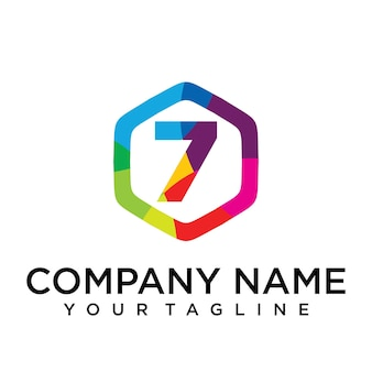 7 list logo ikona hexagon design szablon element