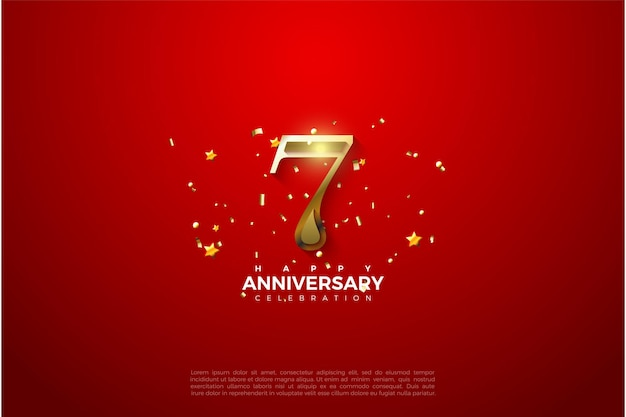 7. rocznica z cyframi 3d gold.