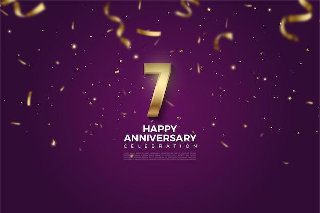 7. rocznica z ilustracjami liczb obsypana złotymi wstążkami.